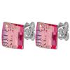 Strieborné náušnice so Swarovski elements light rose 8mm