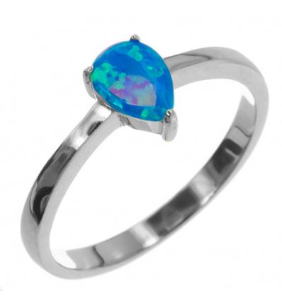 Strieborný prsteň s modrým opálom
