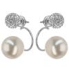 Kombinované strieborné náušnice s perlou a krištáľmi Swarovski