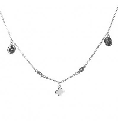 Strieborný náhrdelník s príveskami a zirkónmi 38 až 42cm