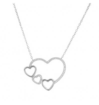 Strieborný náhrdelník srdce so zirkónmi 43 až 46cm