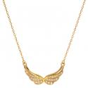 Strieborný pozlátený náhrdelník anjelské krídla so zirkónmi 42 až 45cm