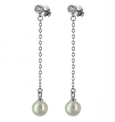 Strieborné retiazkové náušnice s perlou a so zirkónom