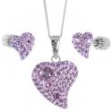 Strieborný set srdiečka s krištáľmi Swarovski violet