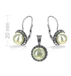 74621579a Strieborný set s perlou a krištáľmi Swarovski bl.diamond